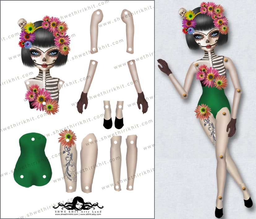 Great Day Of The Dead Paper Doll A4sheetsample